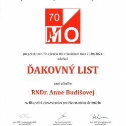 Ocenenie dlhoročnej práce RNDr. Anny Budišovej
