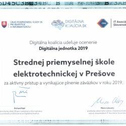 """SPŠE získala ocenenie """"Digitálna jednotka"""""""