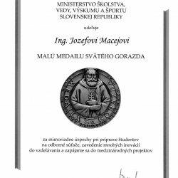 Zaslúžená pocta v podobe Malej medaily sv. Gorazda